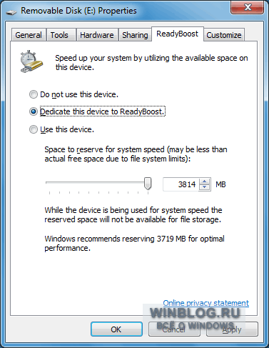 ���������� ReadyBoost � Windows 7