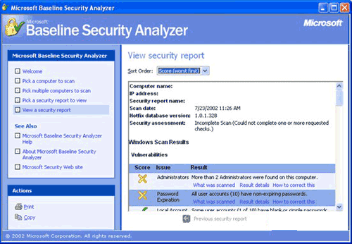 Microsoft Baseline Security Analyzer 2.01