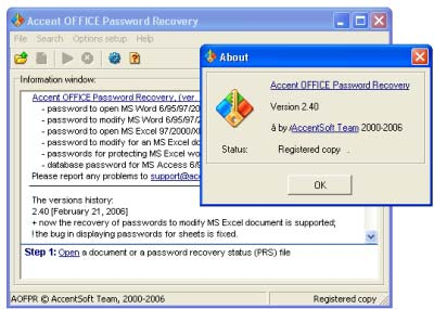 Accent Office Password Recovery 2.4