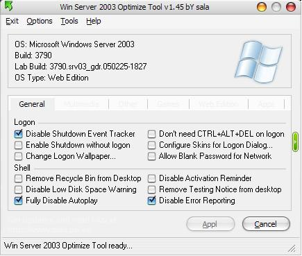 Win Server 2003 Optimize Tool 1.45