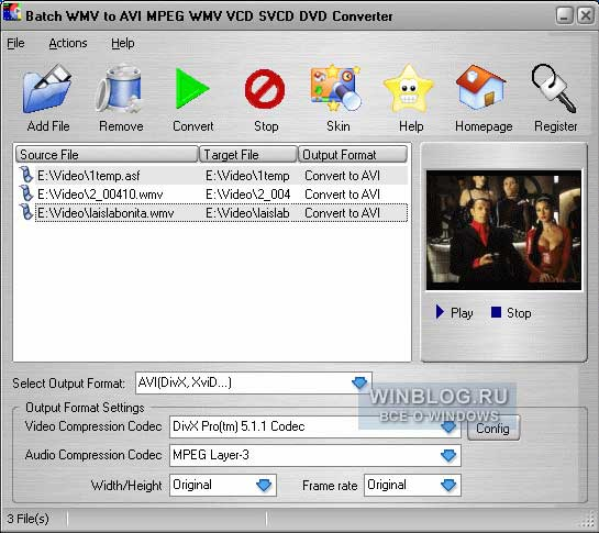 Batch WMV to AVI MPEG WMV VCD SVCD DVD Converter