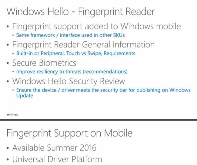 Windows 10 Mobile научат читать отпечатки пальцев